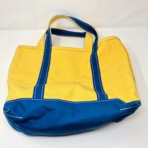 VTG LL Bean Boat & Tote Bag Canvas Yellow Blue Mad